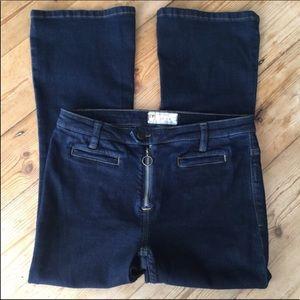 Free People Dark Wash Ankle Crop Bootcut Jeans